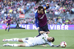 BARCELONA, May 13, 2019  Barcelona's Lionel Messi (top) vies with Getafe's Mauro Arambarri during a Spanish league match between FC Barcelona and Getafe in Barcelona, Spain, on May 12, 2019. FC Barcelona won 2-0. (Credit Image: © Joan Gosa/Xinhua via ZUMA Wire)