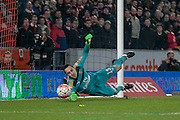 David Ospina (Arsenal) makes a save during the The FA Cup fifth round match between Hull City and Arsenal at the KC Stadium, Kingston upon Hull, England on 8 March 2016. Photo by Mark P Doherty.
