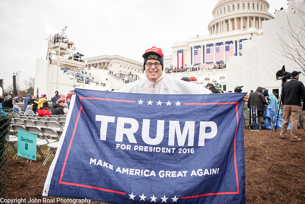 "Tom Mendenhall, traveled from Columbia, MO, to watch the Inauguration of Donald Trump as the 45th President of the United States, January 20, 2017.  When asked about his hopes for the Trump administration, he lamented, ""...rules and regulations are really hurting business...we spent 4 trillion dollars on wars with nothing to show for it...we didn't even take the oil!""  John Boal Photography"