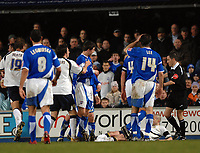 Photo: Ashley Pickering.<br />Ipswich Town v Leeds United. Coca Cola Championship. 16/12/2006.<br />Leed's Kevin Nicholls goes to ground in a scuffle with Jonathan Macken and was later sent off for diving