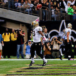 October 23, 2011; New Orleans, LA, USA; New Orleans Saints running back Darren Sproles (43) celebrates following a touchdown against the Indianapolis Colts during the first half of a game at the Mercedes-Benz Superdome. Mandatory Credit: Derick E. Hingle-US PRESSWIRE / © Derick E. Hingle 2011