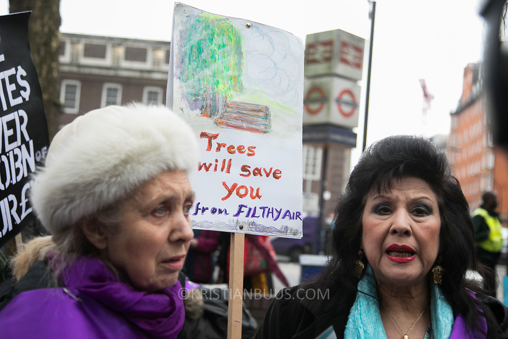 Protest against the HS2 project at Euston station. Local residents Coral Bower and Mimi Romilly. The high speed train line prject from London to Birmingham will take 17 years to complete and cost an estimated £100b. Locals in Camden staged a protest to highlight this fact in an attempt to stop the project. Vicar Anne Stevens and local resident Jo Hurford chained themselves to one of the many trees which will be cut down by HS2 to make way for the new train station.
