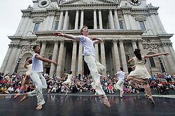 © licensed to London News Pictures.  28/06/2011. London, UK. Photo call for dancers from the Rambert Dance Company performing  extracts from artistic director Mark Baldwin's Eternal Light in front of St Paul's Cathedral today (28/09/2011) as part of the City of London Festival. See special instructions. Photo credit should read: Ben Cawthra/LNP