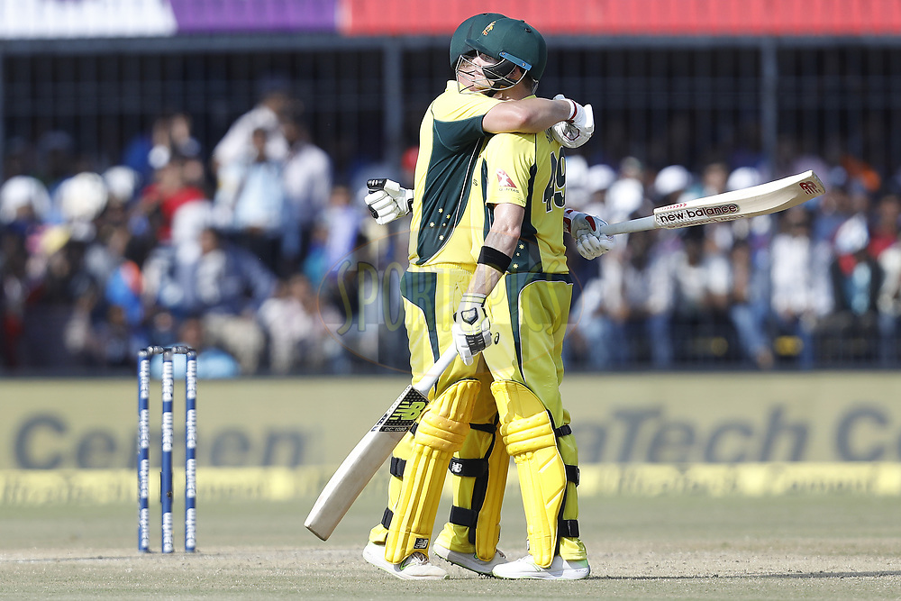 Aaron Finch of Australia celebrates his Hundred runs Steven Smith captain of Australia during the 3rd One Day International between India and Australia held at the Holkar Stadium in Indore on the 24th  September 2017<br /> <br /> Photo by Arjun Singh / BCCI / SPORTZPICS
