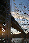 Photos of George Washington Bridge and the Little Red Lighthouse located in Fort Washington Park, New York.