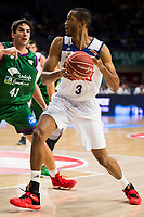 Real Madrid's player Anthony Randolph and Unicaja Malaga's player Carlos Suarez during match of Liga Endesa at Barclaycard Center in Madrid. September 30, Spain. 2016. (ALTERPHOTOS/BorjaB.Hojas)