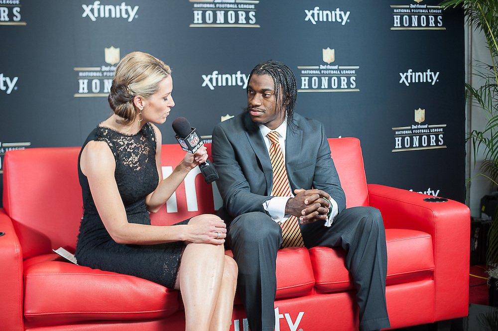 Robert Griffin (RG3) being interviewed by NFL networks Alex Flanagan at the Mahalia Jackson Theatre NFL Honors in New Orleans, Louisiana on Feb.2 2013.