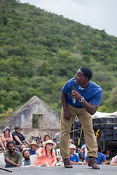 "Storyteller, Yohancé Henley entertains the audience with a story about Anansi, a Caribbean folklore character.  The Virgin Islands National Park Service presents the 26th Annual Folk-life Festival ""Celebrating Transfer Day from the Danish West Indies to the United States Virgin Islands""  Annaberg Sugar Plantation Ruins.  23 February 2017.  © Aisha-Zakiya Boyd"