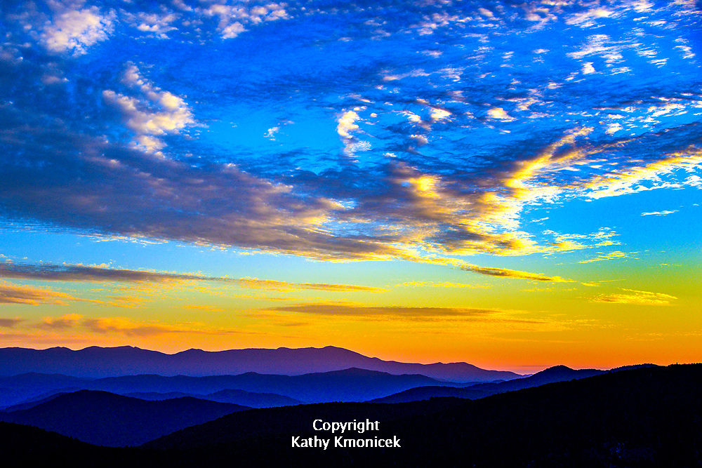 Sunset over the Blue Ridge Mountains from Hawksbill Mountain in North Carolina. <br />