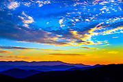 Sunset over the Blue Ridge Mountains from Hawksbill Mountain, June 19, 2016 in North Carolina. <br /> <br /> &copy; Photography by Kathy Kmonicek
