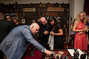 JOHN MALKOVICH; DAVID GILMOUR;POLLY SAMSON; KATE FREUD, Freud Museum dinner, Maresfield Gardens. 16 June 2011. <br /> <br />  , -DO NOT ARCHIVE-© Copyright Photograph by Dafydd Jones. 248 Clapham Rd. London SW9 0PZ. Tel 0207 820 0771. www.dafjones.com.