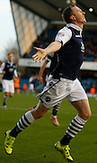 Millwall FC Midfielder Shane Ferguson celebrates his goal during the Sky Bet League 1 match between Millwall and Colchester United at The Den, London, England on 21 November 2015. Photo by Andy Walter.