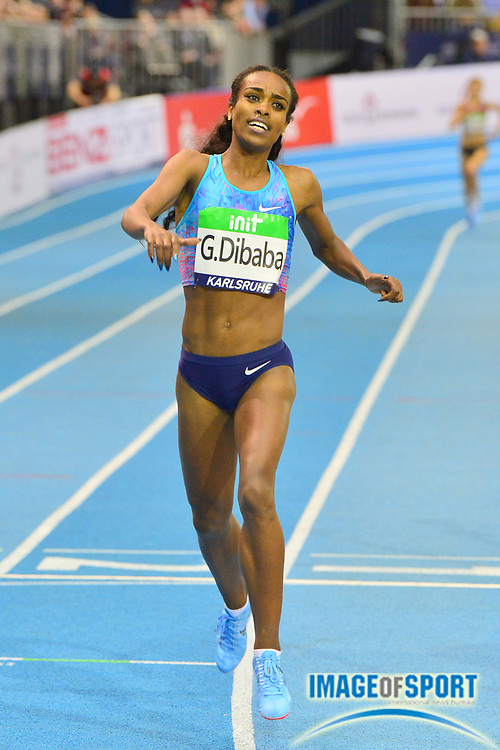 Genzebe Dibaba (ETH) wins the women's 1,500m in 3:57.45 in the 34th Indoor Meeting Karlsruhen in an IAAF World Tour competition at the Messe Karlsruhe on Saturday, Feb. 3, 2018 in Karlsruhe, Germany. (Jiro Mochizuki/Image of Sport)