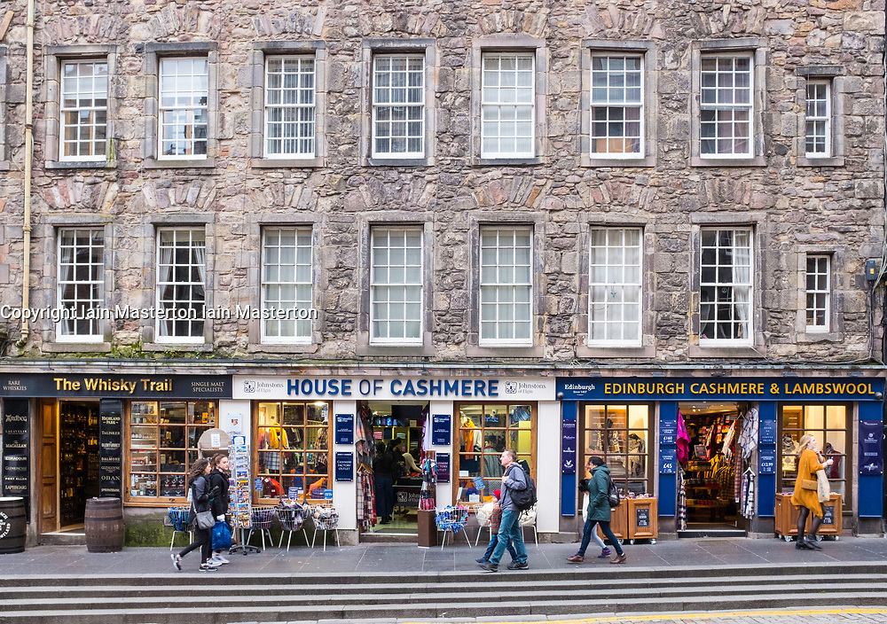 Exterior of typical tourist souvenir shops on the Royal Mile in Edinburgh , Scotland, United Kingdom.