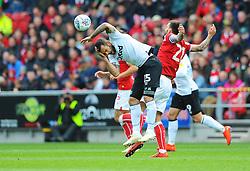 Marlon Pack of Bristol City collides with Bradley Johnson of Derby County- Mandatory by-line: Nizaam Jones/JMP - 27/04/2019 - FOOTBALL - Ashton Gate - Bristol, England - Bristol City v Derby County - Sky Bet Championship
