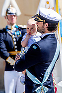 8-6-2018 Drottningholm - Drottningholm Palace Chapel- Princess Adrienne's christening , King Carl Gustav , Queen Silvia, Crown Princess Victoria , Prince Daniel, and princess Estelle ands prince Oscar , Prince Carl Philip, Princess Sofia, with Prince Alexander and Prince Gabriel ,  Princess Madeleine, Christopher O'Neill Princess Leonore and Prince Nicolas. Princess Adrienne ROBIN UTRECHT doop van prinses in zweden <br /> 8-6-2018 Drottningholm - Kapel van het Drottningholm Paleis - Prinses Adrienne's Doop, Koning Carl Gustav, Koningin Silvia, Kroonprinses Victoria, Prins Daniel, en Prinses Estelle en Prins Oscar, Prins Carl Philip, Prinses Sofia, Prins Gabriel en Prins Gabriel, Prinses Madeleine, Christopher O'Neill, prinses Leonore en prins Nicolas. Prinses Adrienne ROBIN UTRECHT