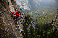 Kate Rutherford needs more than 20/20 vision to manage an ascent of the hidden gem Perfect Vision on Higher Cathedral Rock in Yosemite Valley.