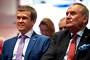 Warsaw, Poland - 2017 March 12: (L-R) Witold Banka Minister of Sports Departament and Andrzej Krasnicki President of Polish Olympic Committee while Nomination Ceremony of Special Olympics Polish National Team before the Special Olympics World Winter Games Austria  2017 at Marriott Hotel on March 12, 2017 in Warsaw, Poland.<br /> <br /> Mandatory credit:<br /> Photo by &copy; Adam Nurkiewicz / Mediasport<br /> <br /> Adam Nurkiewicz declares that he has no rights to the image of people at the photographs of his authorship.<br /> <br /> Picture also available in RAW (NEF) or TIFF format on special request.<br /> <br /> Any editorial, commercial or promotional use requires written permission from the author of image.<br /> <br /> Image can be used in the press when the method of use and the signature does not hurt people on the picture.