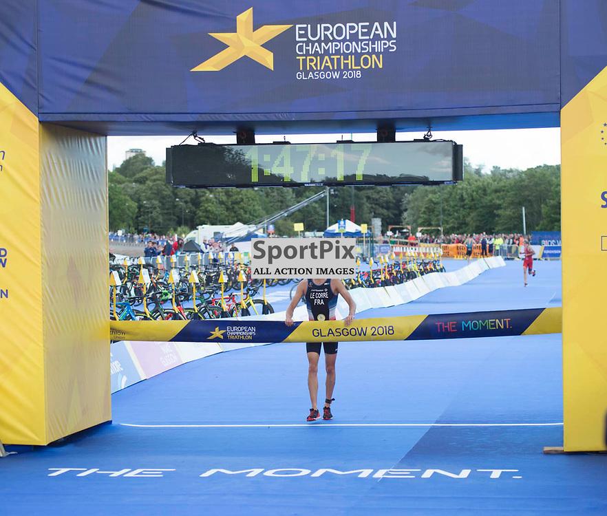 Pierre Le Corre of France wins the Men's Elite Standard Race, ETU Triathlon,  European Championships, Strathclyde Park, Motherwell Scotland, Friday 10 August 2018, (c) Angie Isac | SportPix.org.uk