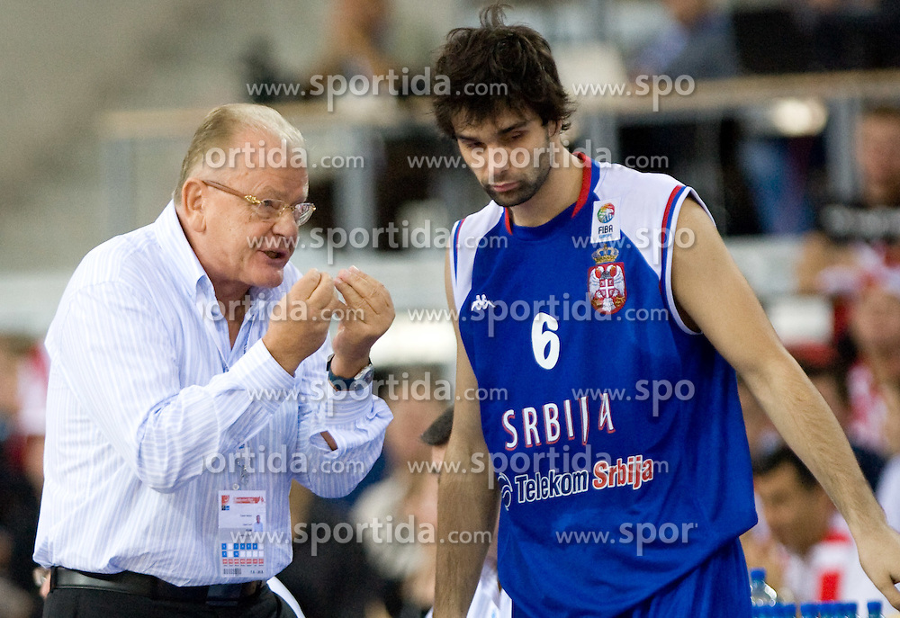 Head coach of Serbia Dusan Ivkovic and Milos Teodosic of Serbia during the EuroBasket 2009 Group F match between Poland and Serbia, on September 12, 2009 in Arena Lodz, Hala Sportowa, Lodz, Poland.  (Photo by Vid Ponikvar / Sportida)