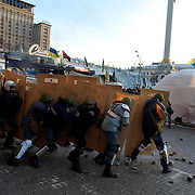 January 27, 2014 - Kiev, Ukraine: A group of right-wing movement practice combat tactics ahead of their shift guarding Maidan barricades. (Paulo Nunes dos Santos)