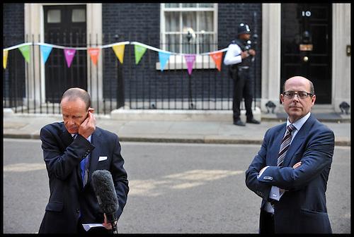 BBC News Political Editor Nick Robinson And Chief Political Correspondent  Norman Smith (left) Outside.