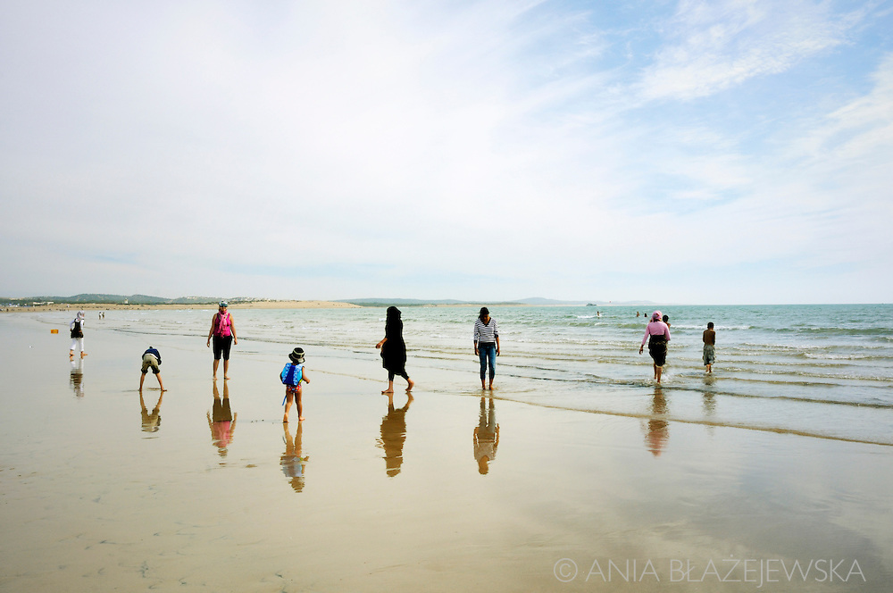 Morocco, Essaouira. People on the beach.