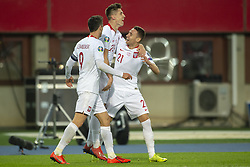 March 21, 2019 - Vienna, Austria - Krzysztof Piatek of Poland celebrates his scoring with his teammates Przemyslaw Frankowski and Robert Lewandowski during the UEFA European Qualifiers 2020 match between Austria and Poland at Ernst Happel Stadium in Vienna, Austria on March 21, 2019  (Credit Image: © Andrew Surma/NurPhoto via ZUMA Press)
