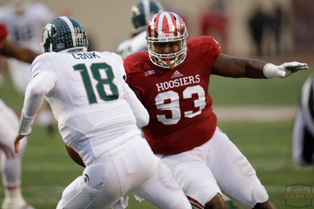 18 October 2014: Indiana Hoosiers defensive tackle Ralph Green III (93) as the Indiana Hoosiers played the Michigan State Spartans in an NCAA college football game in Bloomington, Ind.