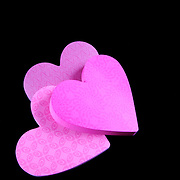 Sticky post it notes in the shape of hearts