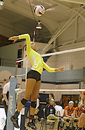 Kennedy's Alexus Rogers goes up for a spike during their game against Tripoli at the Westside Volleyball Invitational at Jefferson High School in Cedar Rapids on Saturday October 6, 2012. Tripoli defeated Kennedy 25-19 and 25-21.