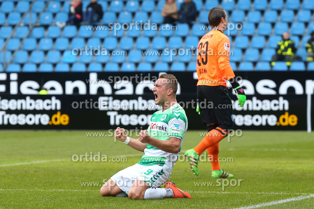 20.03.2016, Rewirpower Stadio, Bochum, GER, 2. FBL, VfL Bochum vs SpVgg Greuther Fuerth, 27. Runde, im Bild Torjubel ueber das Tor zum 1:2 durch Veton Berisha (#19, SpVgg. Greuther Fuerth), rechts schleicht Manuel Riemann (#33, TW, VfL Bochum) traurig zum Tor // during the 2nd German Bundesliga 27th round match between VfL Bochum and SpVgg Greuther Fuerth at the Rewirpower Stadio in Bochum, Germany on 2016/03/20. EXPA Pictures &copy; 2016, PhotoCredit: EXPA/ Eibner-Pressefoto/ Deutzmann<br /> <br /> *****ATTENTION - OUT of GER*****