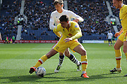 Preston North End Midfielder Adam Reach battles during the Sky Bet Championship match between Preston North End and Milton Keynes Dons at Deepdale, Preston, England on 16 April 2016. Photo by Pete Burns.