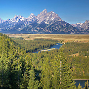 Classic view of river and mountains from Snake River Overlook at Grand Teton National Park, Wyoming.