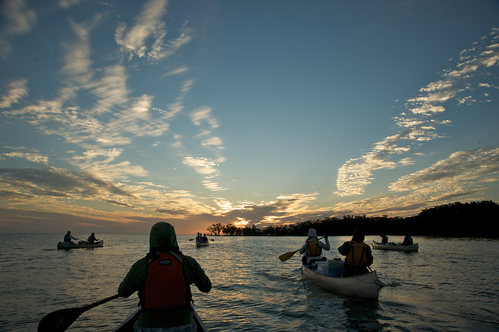 An Outward Bound crew paddles in the Everglades on their way towards the outer Gulf Islands