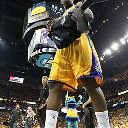 April 22, 2011; New Orleans, LA, USA; New Orleans Hornets point guard Chris Paul (3) before tip off of game three of the first round of the 2011 NBA playoffs against the Los Angeles Lakers at the New Orleans Arena.    Mandatory Credit: Derick E. Hingle