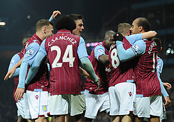 Aston Villa's Gabriel Agbonlahor celebrates with his team mates after scoring. - Photo mandatory by-line: Dougie Allward/JMP - Mobile: 07966 386802 - 24/11/2014 - SPORT - Football - Birmingham - Villa Park - Aston Villa v Southampton - Barclays Premier League