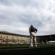 Head Coach John Tucker of the Boston Cannons watches his team prior to the game at Harvard Stadium on May 10, 2014 in Boston, Massachusetts. (Photo by Elan Kawesch)