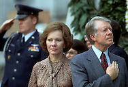 .Jimmy Carter and Rosalynn Carter  during the playing of the National Antheum in February 1979..Photo by Dennis Brack