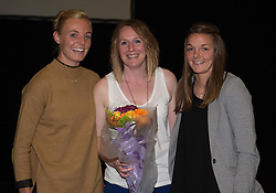 Bristol Academy's Sophie Ingle and Loren Dykes present a gift to a club staff member, Kathryn Parsons  - Photo mandatory by-line: Paul Knight/JMP - Mobile: 07966 386802 - 11/10/2015 - Sport - Football - Bristol - Stoke Gifford Stadium - Bristol Academy WFC End of Season Awards 2015