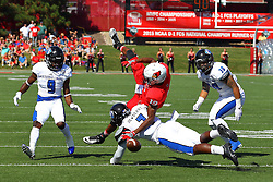 17 September 2016:  Anthony Fowler up ended by Bradley Dewberry. NCAA FCS Football game between Eastern Illinois Panthers and Illinois State Redbirds for the 105th Mid-America Classic on Family Dat at Hancock Stadium in Normal IL (Photo by Alan Look)