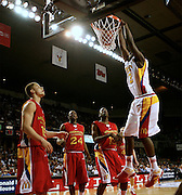 North Carolina State recruit JJ Hickson goes up for a slam dunk during action in the McDonald's All American High School Basketball Team games at Freedom Hall in Louisville, Kentucky on March 28, 2007.