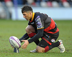 Dragons Gavin Henson<br /> Photographer Mike Jones/Replay Images<br /> <br /> European Rugby Challenge Cup Round 6 - Dragons v Bordeaux Begles - Saturday 20th January 2018 - Rodney Parade - Newport<br /> <br /> World Copyright © Replay Images . All rights reserved. info@replayimages.co.uk - http://replayimages.co.uk