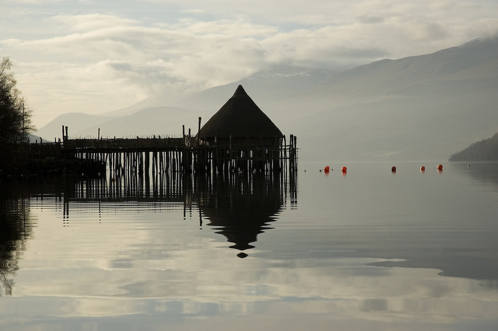 The Crannog on Loch Tay, Kenmore, Perthshire, Scotland, an &amp;#x9; unique reconstruction of an early Iron Age loch-dwelling, built by the Scottish Trust for Underwater Archaeology.<br />