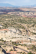 Highway 12 winding through sandstone canyons in Southern Utah.