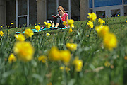 A student on the Kent campus enjoys the sunshine on Blanket Hill near Taylor Hall.