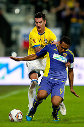 Marcos Tevares of NK Maribor and Liam Ridgewell of Birmingham City at 2nd Round of Europe League football match between NK Maribor (Slovenia) and Birmingham City (England), on September 29, 2011, in Maribor, Slovenia.  (Photo by Urban Urbanc / Sportida)
