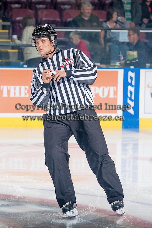 KELOWNA, CANADA - OCTOBER 22: Dustin Minty, linesman skates on the ice at the Kelowna Rockets on October 22, 2013 at Prospera Place in Kelowna, British Columbia, Canada.   (Photo by Marissa Baecker/Shoot the Breeze)  ***  Local Caption  ***