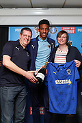 AFC Wimbledon goalkeeper Nathan Trott (1) receiving man of match award during the EFL Sky Bet League 1 match between AFC Wimbledon and Portsmouth at the Cherry Red Records Stadium, Kingston, England on 19 October 2019.