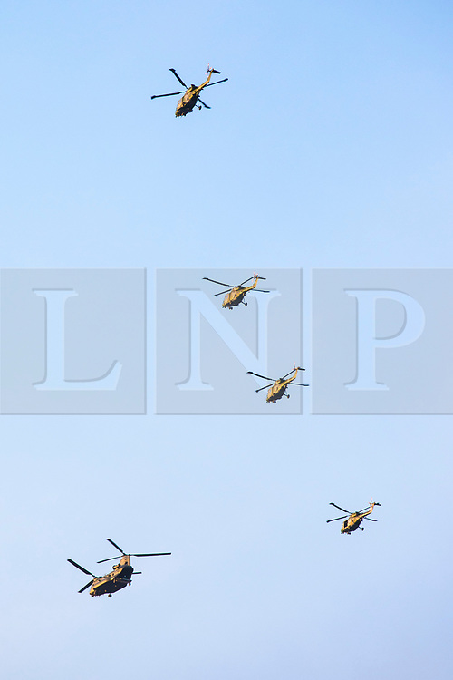 © Licensed to London News Pictures. 16/01/2018. London, UK. The last four remaining British Army Lynx helicopters fly in formation over central London. The British made aircraft is being decommissioned after almost 40 years in service. Photo credit: Rob Pinney/LNP
